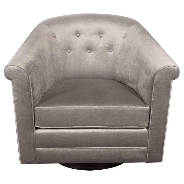 Mid-Century Modern Swivel Chair on Ebonized Walnut Base in Platinum Velvet