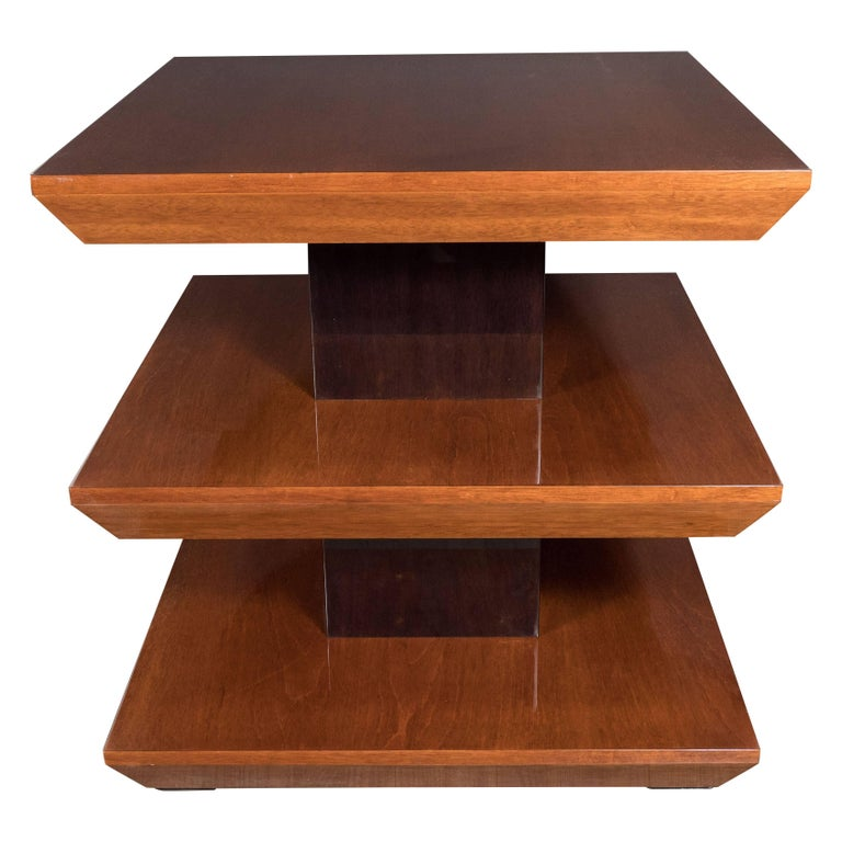 Three-Tier French Art Deco Side Table in Black Lacquer and Bookmatched Walnut