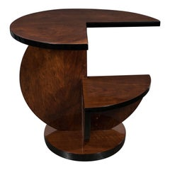 French Art Deco Cubist Side Table in Book Matched Burled Walnut & Black Lacquer