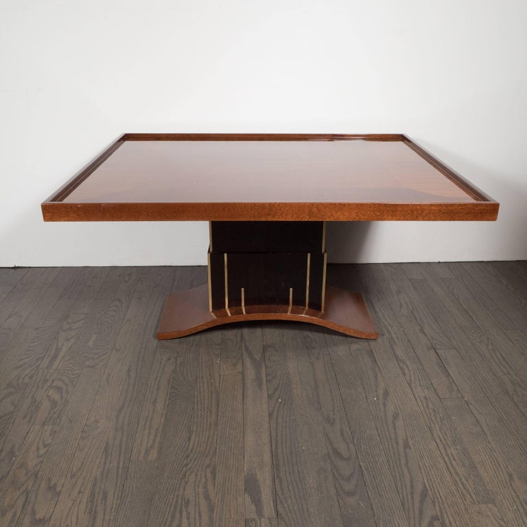American Art Deco Bookmatched Walnut and Mahogany Cocktail Table For Sale