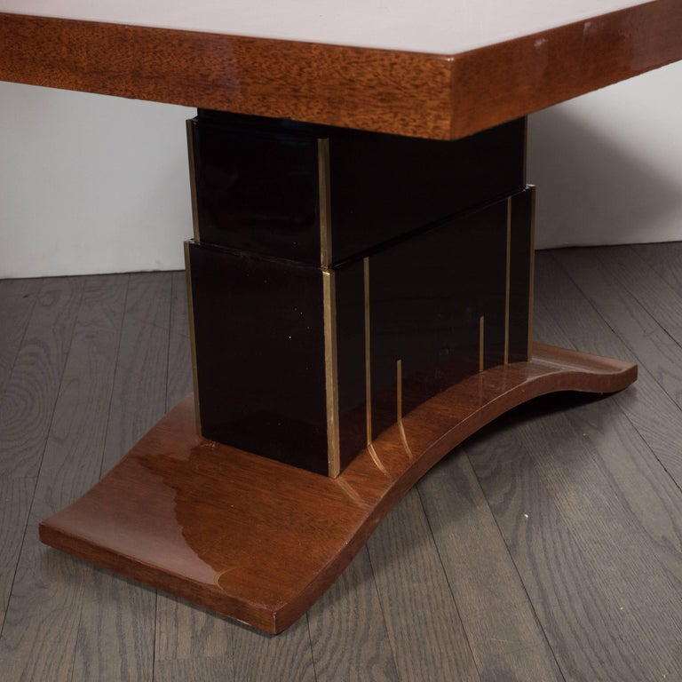 Brass Art Deco Bookmatched Walnut and Mahogany Cocktail Table For Sale