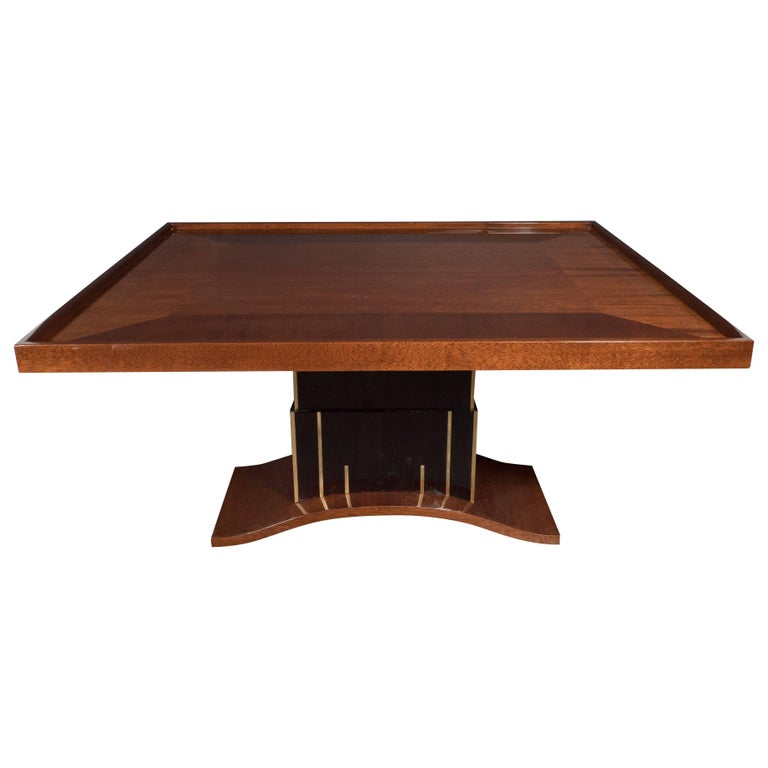 Art Deco Bookmatched Walnut and Mahogany Cocktail Table For Sale