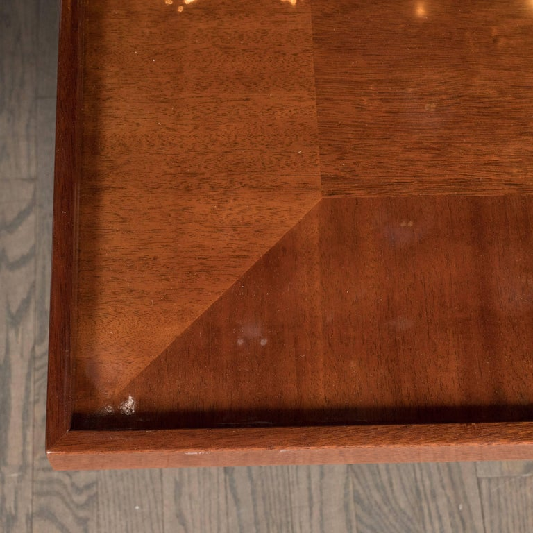 Art Deco Bookmatched Walnut and Mahogany Cocktail Table For Sale 2