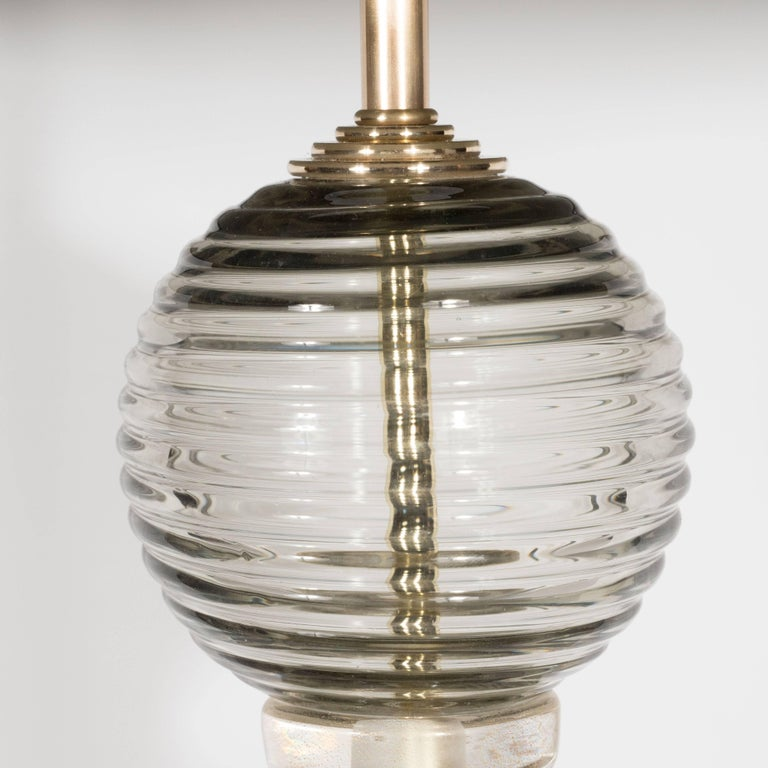 Contemporary Pair of Handblown Murano Ribbed & Smoked Glass Table Lamps with Brass Fittings For Sale