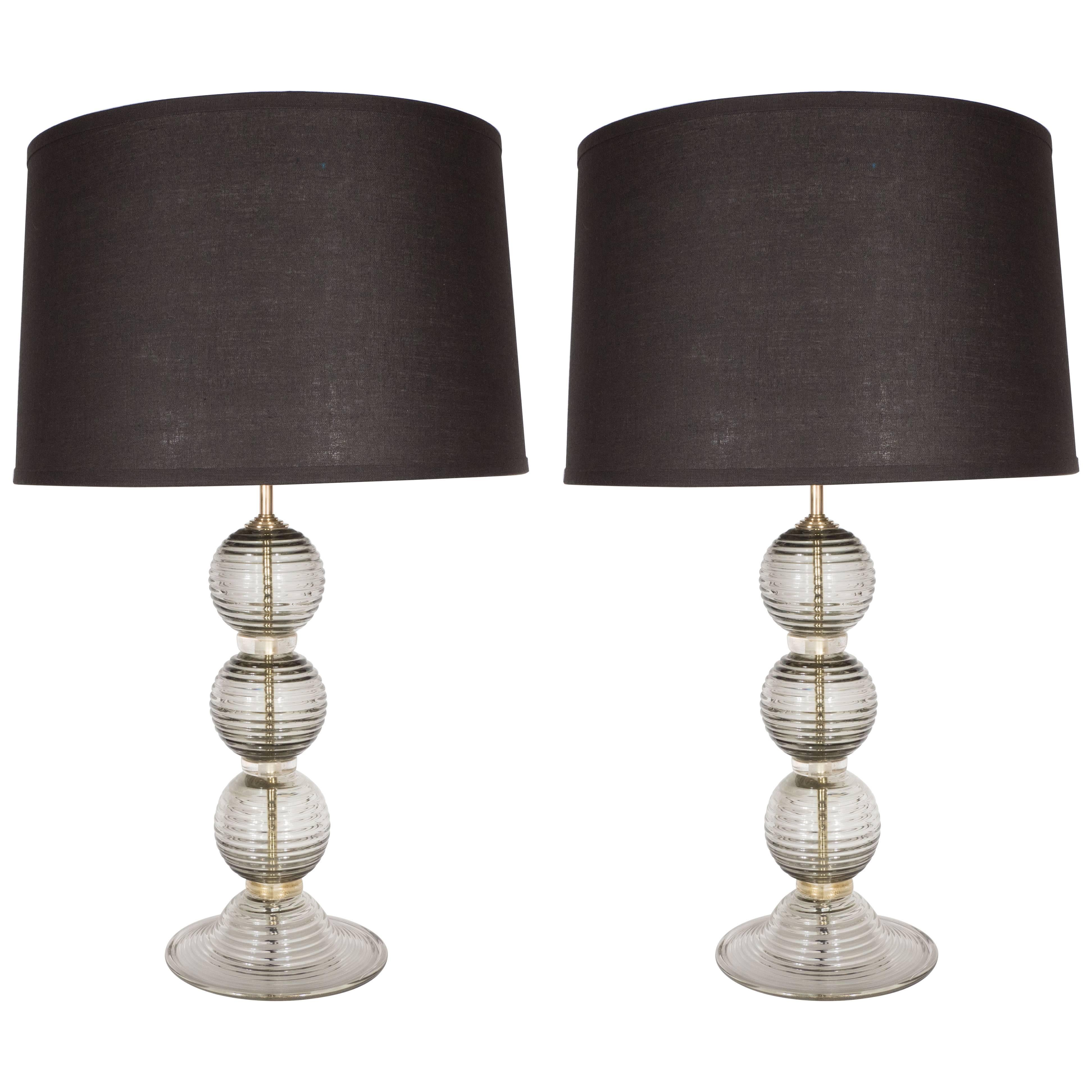 Pair of Handblown Murano Ribbed & Smoked Glass Table Lamps with Brass Fittings