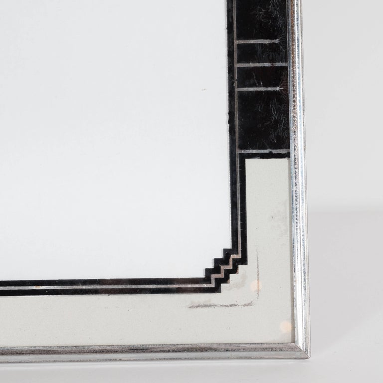 Mid-20th Century Skyscraper Style Art Deco Reverse Painted Chrome and Silver Leaf Picture Frame For Sale