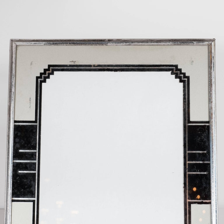Skyscraper Style Art Deco Reverse Painted Chrome and Silver Leaf Picture Frame In Good Condition For Sale In New York, NY
