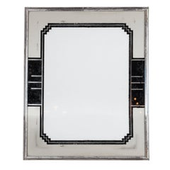 Skyscraper Style Art Deco Reverse Painted Chrome and Silver Leaf Picture Frame