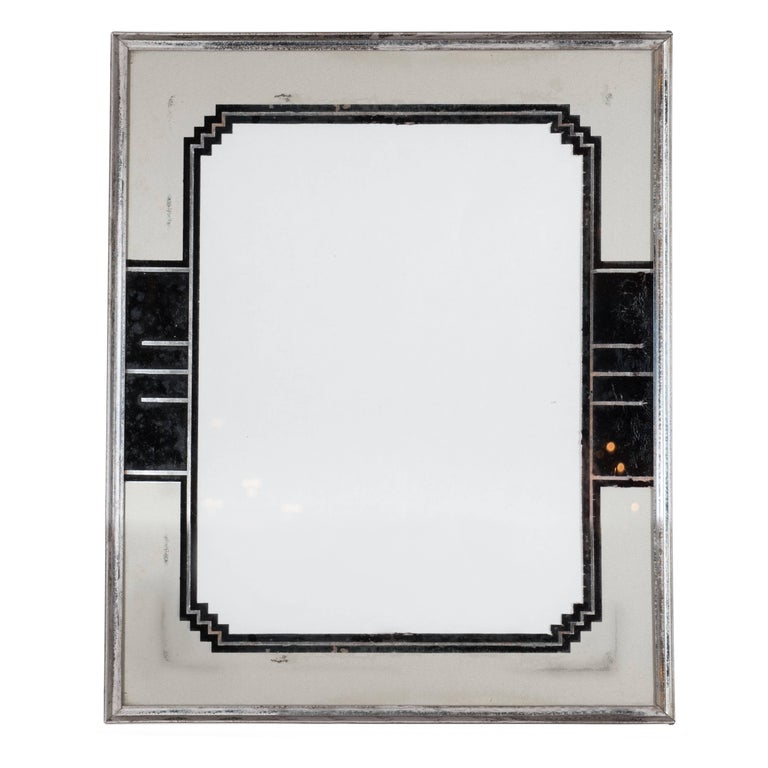 Skyscraper Style Art Deco Reverse Painted Chrome and Silver Leaf Picture Frame For Sale