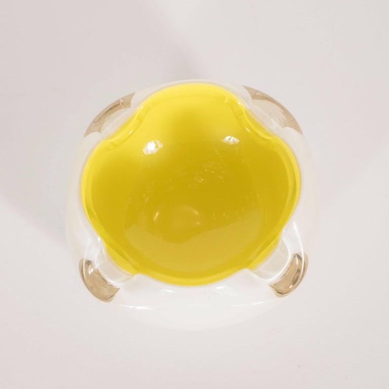 Mid-Century Modern Midcentury Murano Opaque White Glass and Lemon Yellow Decorative Dish
