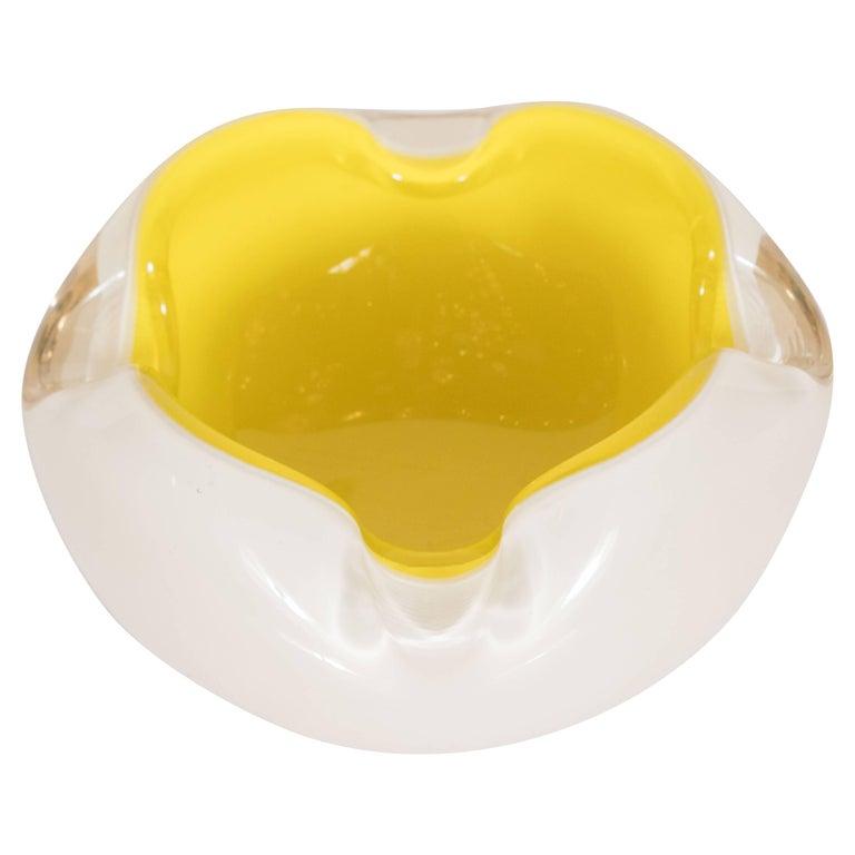 Midcentury Murano Opaque White Glass and Lemon Yellow Decorative Dish