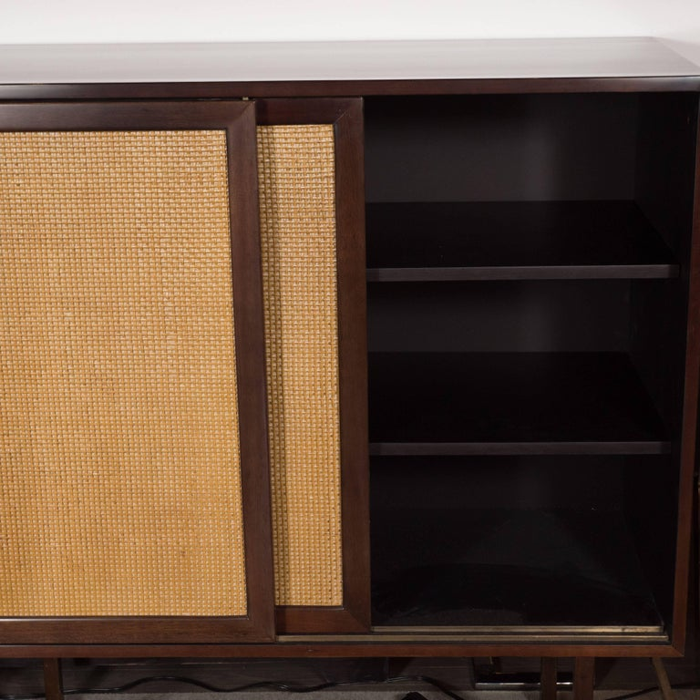 Mid-Century Modern Brass, Walnut and Cane Cabinet by Harvey Probber For Sale 3