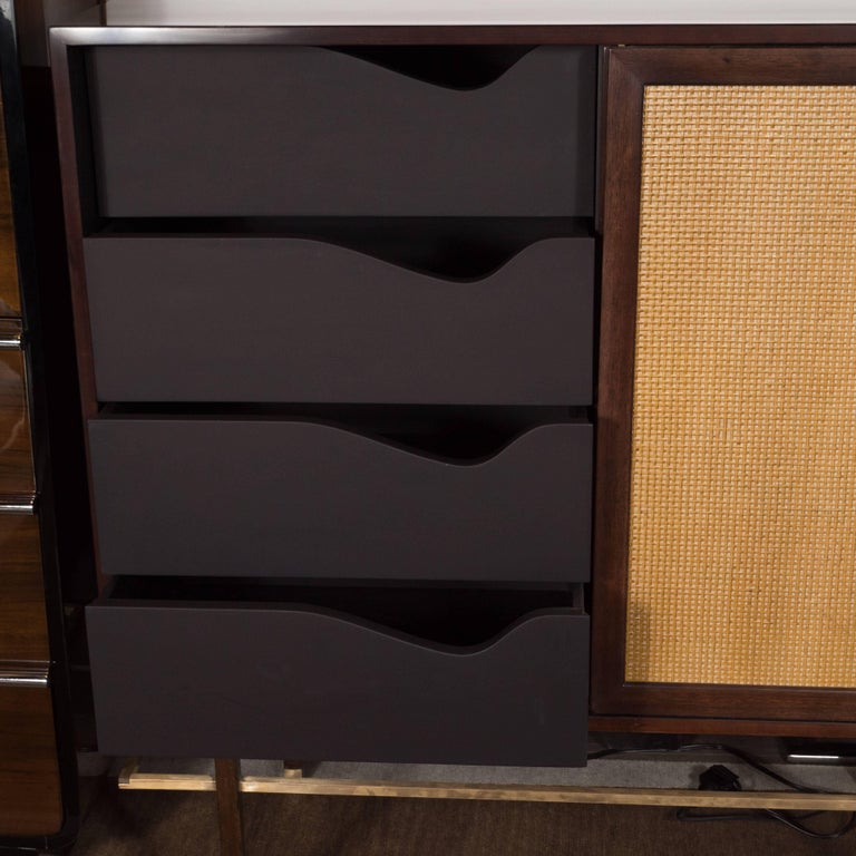 Mid-Century Modern Brass, Walnut and Cane Cabinet by Harvey Probber For Sale 2