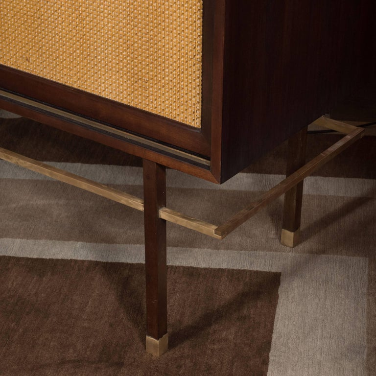 Mid-Century Modern Brass, Walnut and Cane Cabinet by Harvey Probber For Sale 4