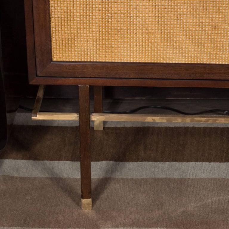 Mid-Century Modern Brass, Walnut and Cane Cabinet by Harvey Probber For Sale 1