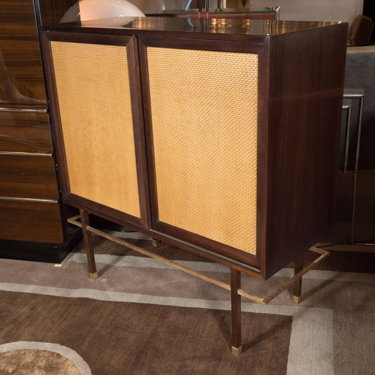 American Mid-Century Modern Brass, Walnut and Cane Cabinet by Harvey Probber For Sale