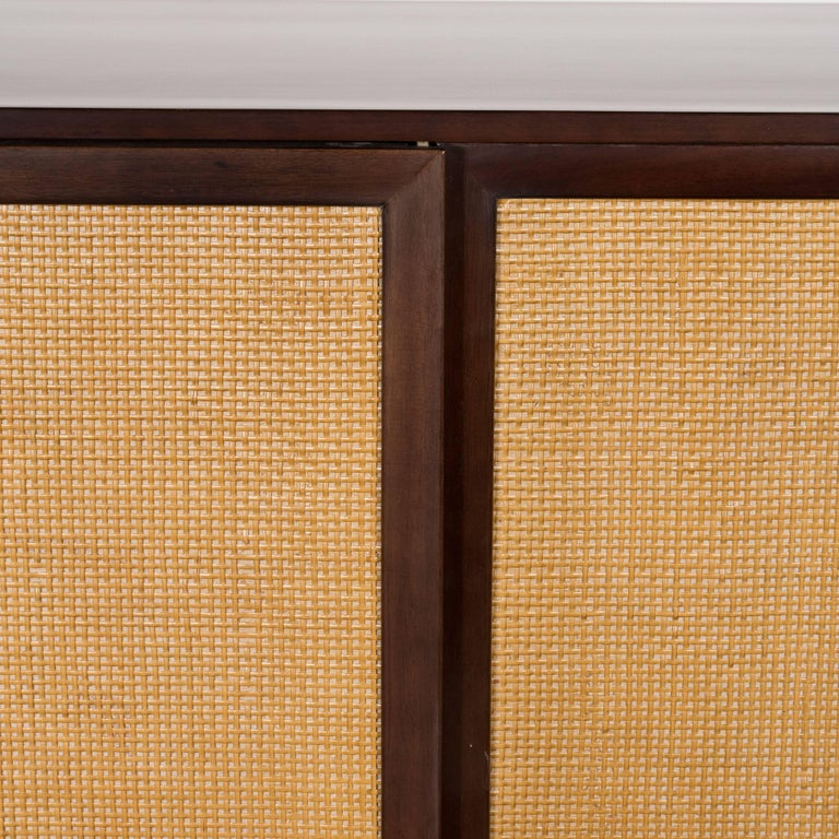 Mid-20th Century Mid-Century Modern Brass, Walnut and Cane Cabinet by Harvey Probber For Sale