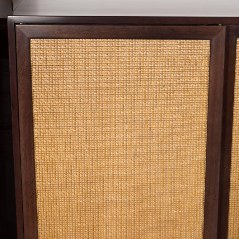 Mid-Century Modern Brass, Walnut and Cane Cabinet by Harvey Probber In Excellent Condition For Sale In New York, NY
