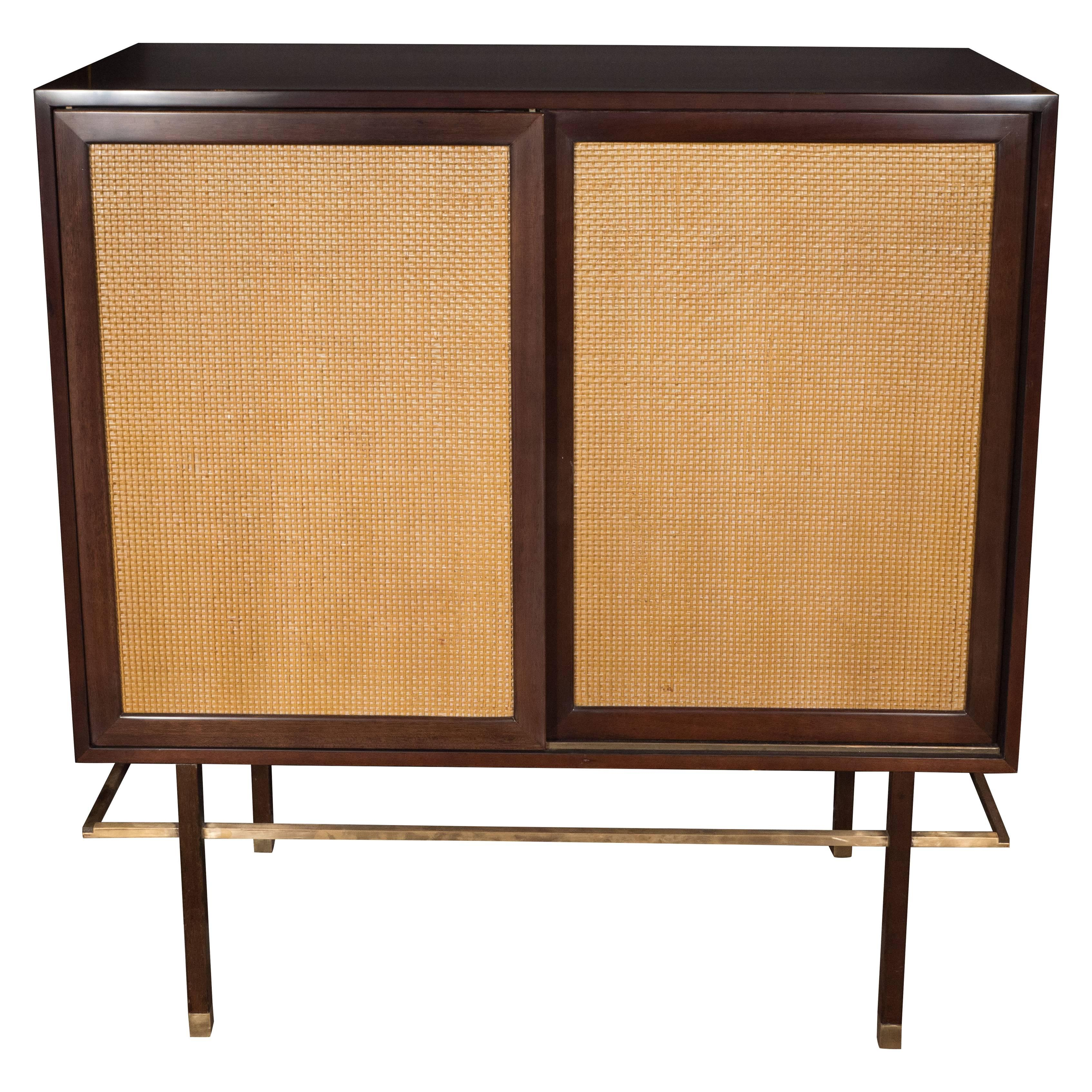 Mid century modern brass walnut and cane cabinet by harvey probber for sale at 1stdibs