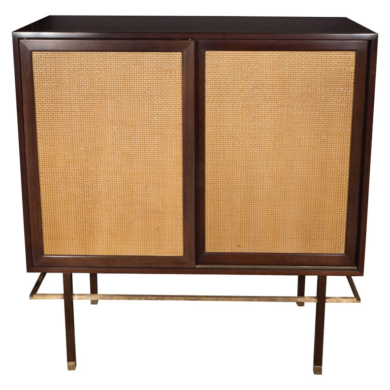 Mid-Century Modern Brass, Walnut and Cane Cabinet by Harvey Probber