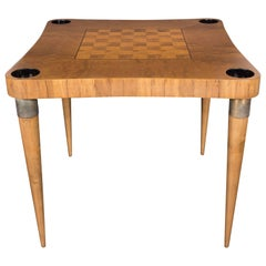 Midcentury Bookmatched Burled Elm and Paldao Wood Game Table by Gilbert Rohde