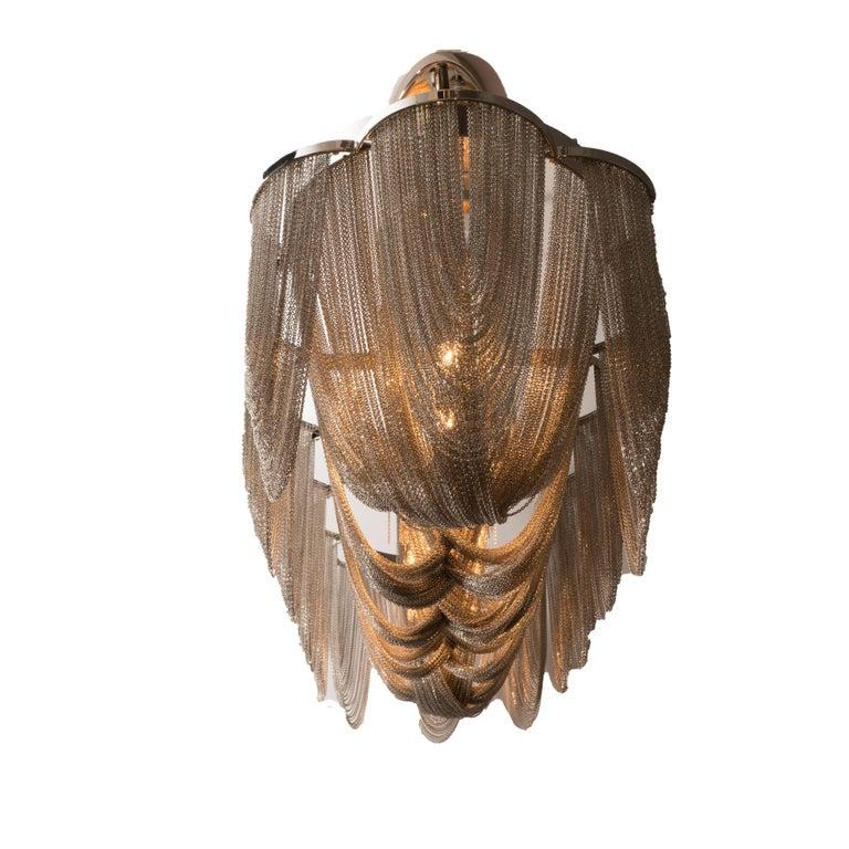 Modernist Polished Stainless Steel Draped Mesh Chandelier, Manner of Baylar For Sale 3