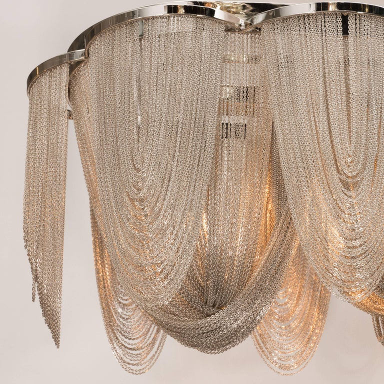 20th Century Modernist Polished Stainless Steel Draped Mesh Chandelier, Manner of Baylar For Sale