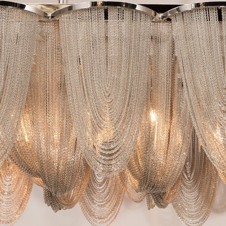 Modernist Polished Stainless Steel Draped Mesh Chandelier, Manner of Baylar In Excellent Condition For Sale In New York, NY