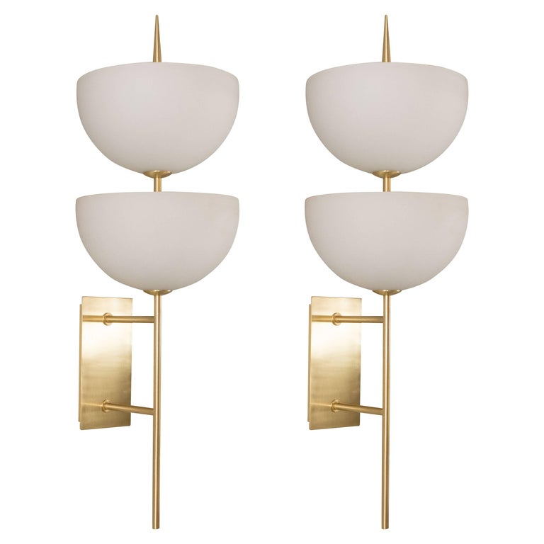 Pair of Reverse-Dome Trophy Sconces in Murano Milk Glass and Brass