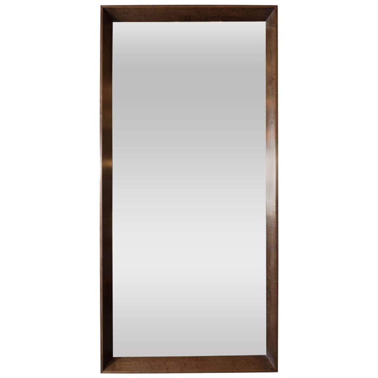 Large-Scale Midcentury Rectangular Shadowbox Walnut Mirror by Gilbert Rohde