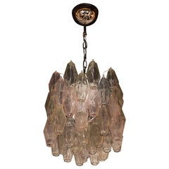 Modernist Handblown Murano Polyhedral Chandelier in Pale Blue, Rose and Citrine