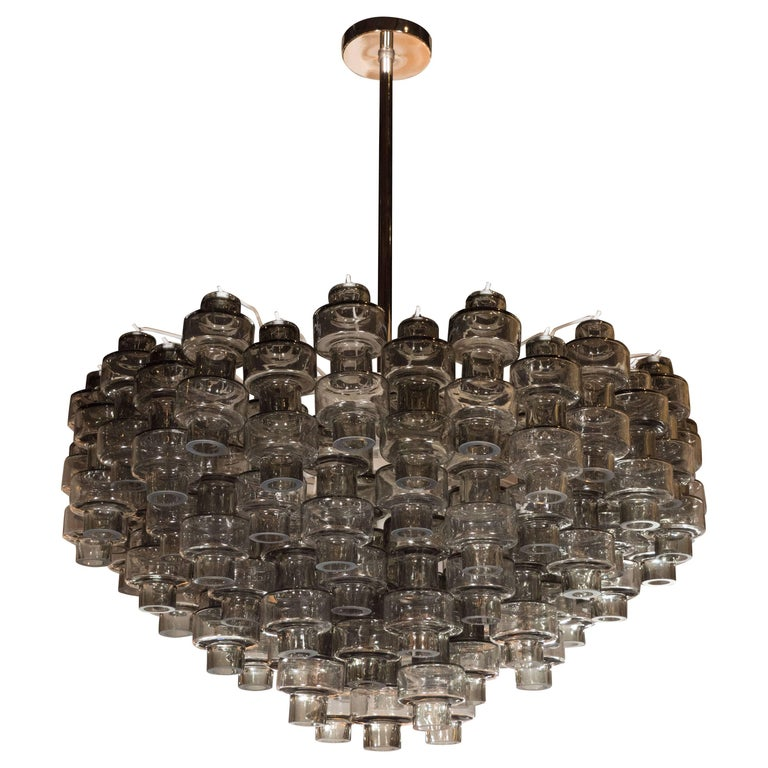 Modernist Murano Glass Smoked Silver Barbell Chandelier