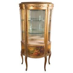 Vernis Martin 19th Century Louis XVI Style Hand-Painted Ormolu Display Cabinet
