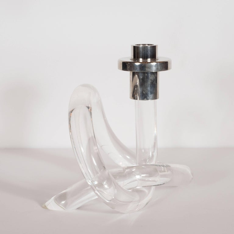 Mid-20th Century Pair of Pretzel Candlesticks in Lucite and Nickelled by Dorothy Thorpe For Sale