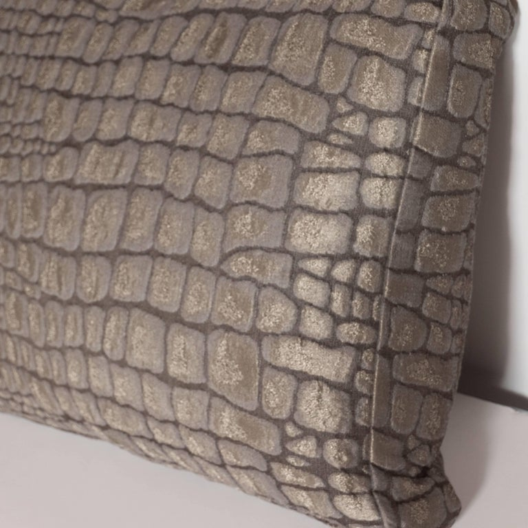 Pair of Gauffraged Crocodile Fabric Pillows in Metallic Antique Bronze Hue 6