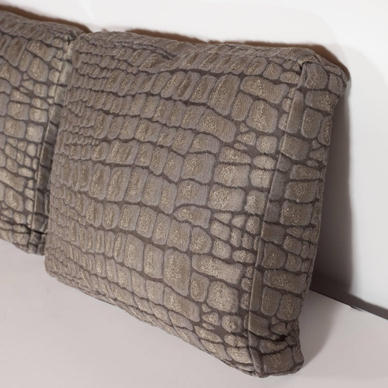 Pair of Gauffraged Crocodile Fabric Pillows in Metallic Antique Bronze Hue 7