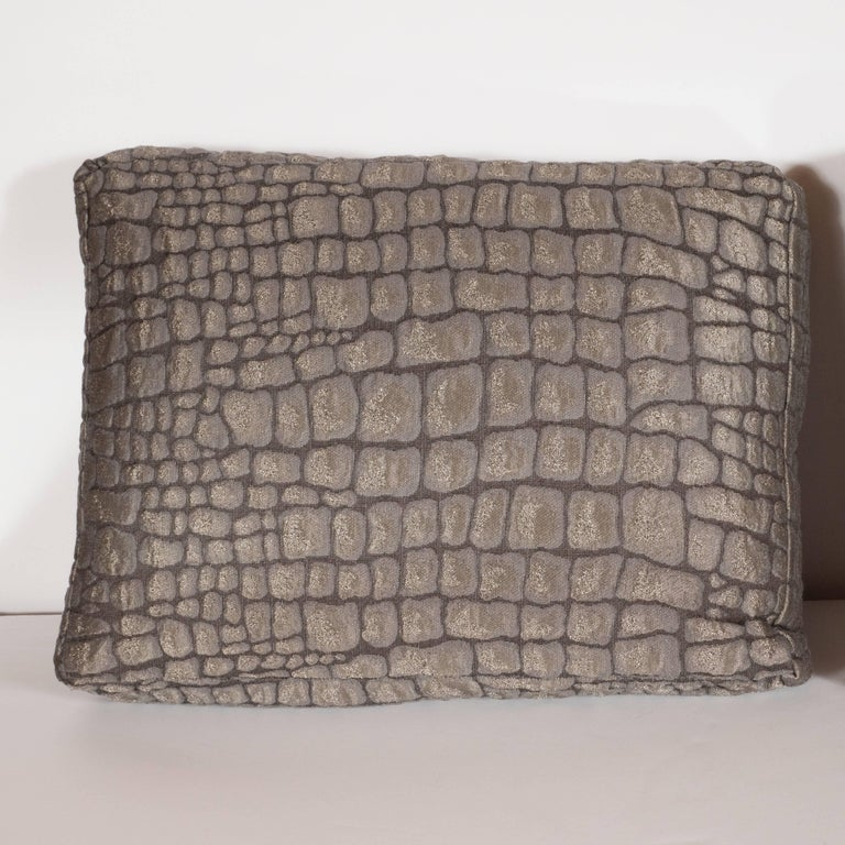 Pair of Gauffraged Crocodile Fabric Pillows in Metallic Antique Bronze Hue 2