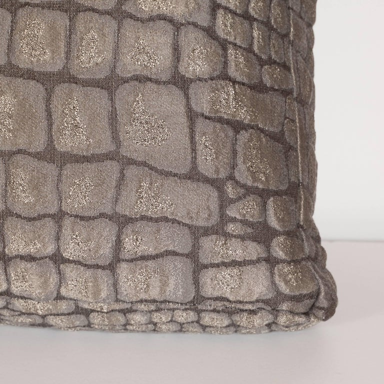 Pair of Gauffraged Crocodile Fabric Pillows in Metallic Antique Bronze Hue 5
