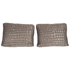 Pair of Gauffraged Crocodile Fabric Pillows in Metallic Antique Bronze Hue