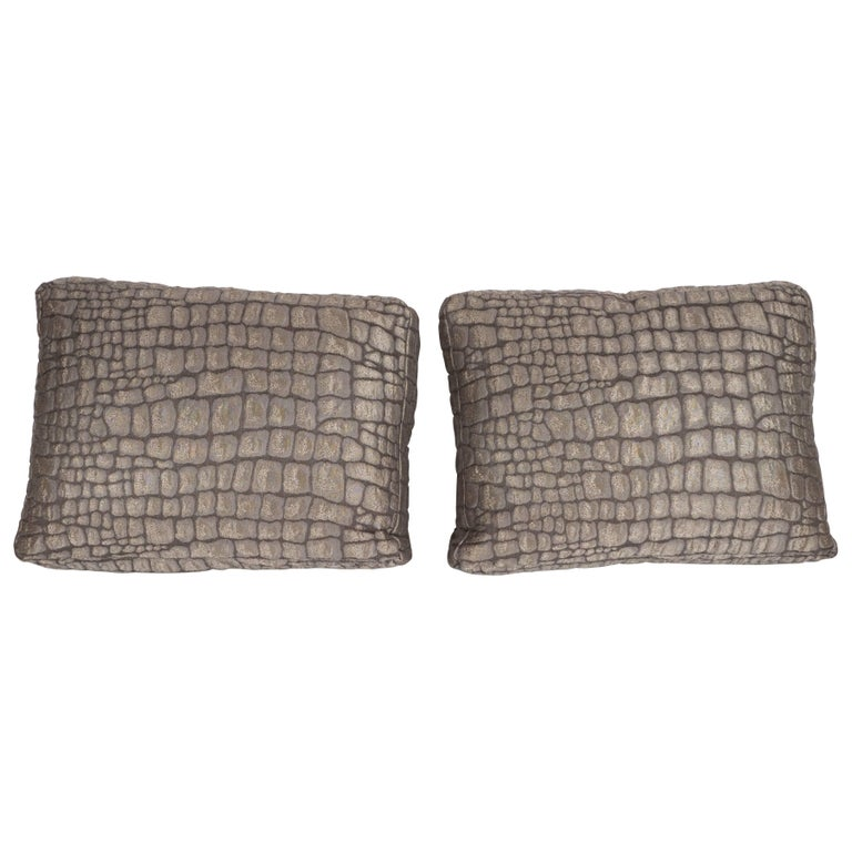 Pair of Gauffraged Crocodile Fabric Pillows in Metallic Antique Bronze Hue 1