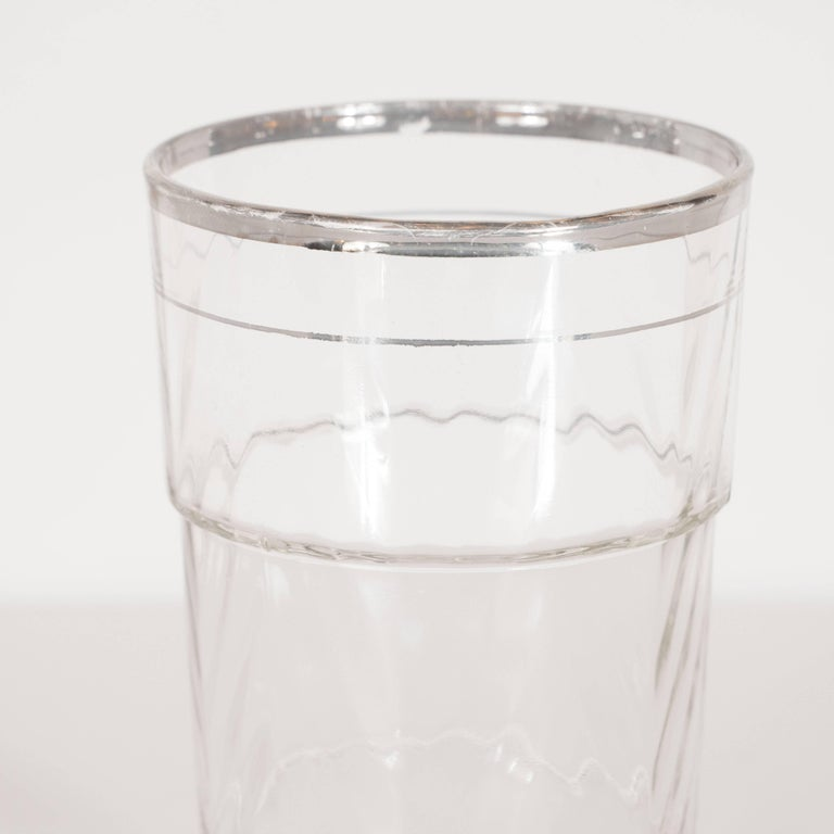 Art Deco Skyscraper Style Glasses with 24-Carat White Gold Rims In Excellent Condition For Sale In New York, NY
