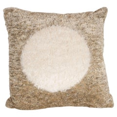 Custom Designed Champagne Colored Pillow with White Mongolian Lambswool Circle