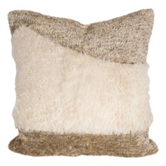 Custom Designed Champagne Colored Pillow with White Mongolian Lambswool Band