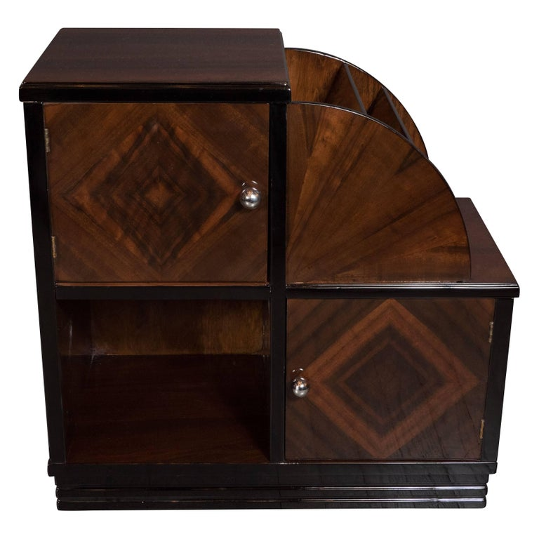 Art Deco Machine Age Bookmatched Walnut Table/Magazine Stand with Chrome Pulls For Sale