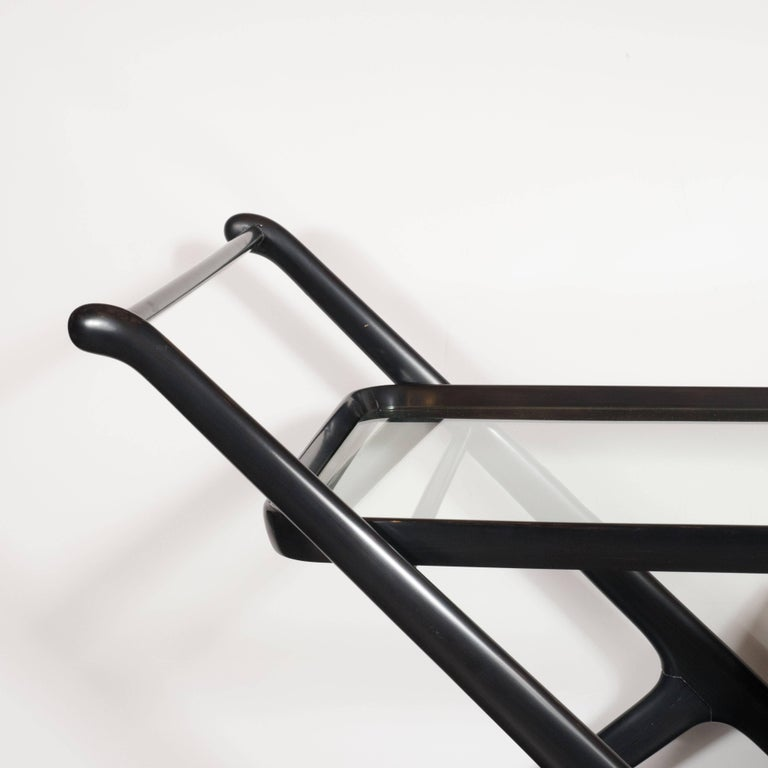 Italian Mid-Century Modern Bar Cart in Ebonized Walnut, Attributed to Ico Parisi For Sale 1