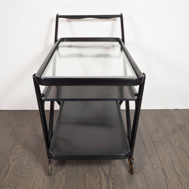 Italian Mid-Century Modern Bar Cart in Ebonized Walnut, Attributed to Ico Parisi In Excellent Condition For Sale In New York, NY