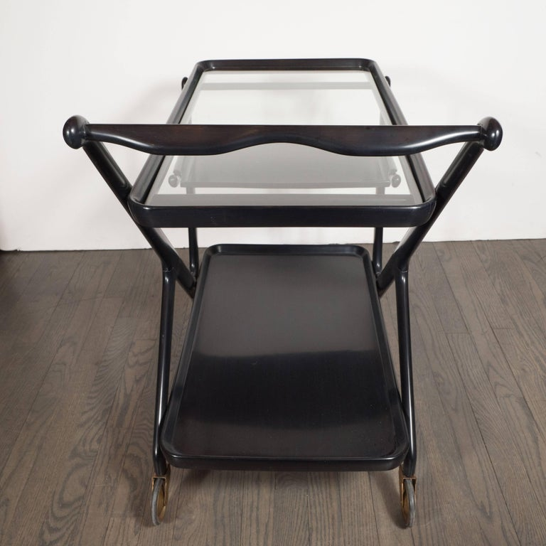 Mid-20th Century Italian Mid-Century Modern Bar Cart in Ebonized Walnut, Attributed to Ico Parisi For Sale