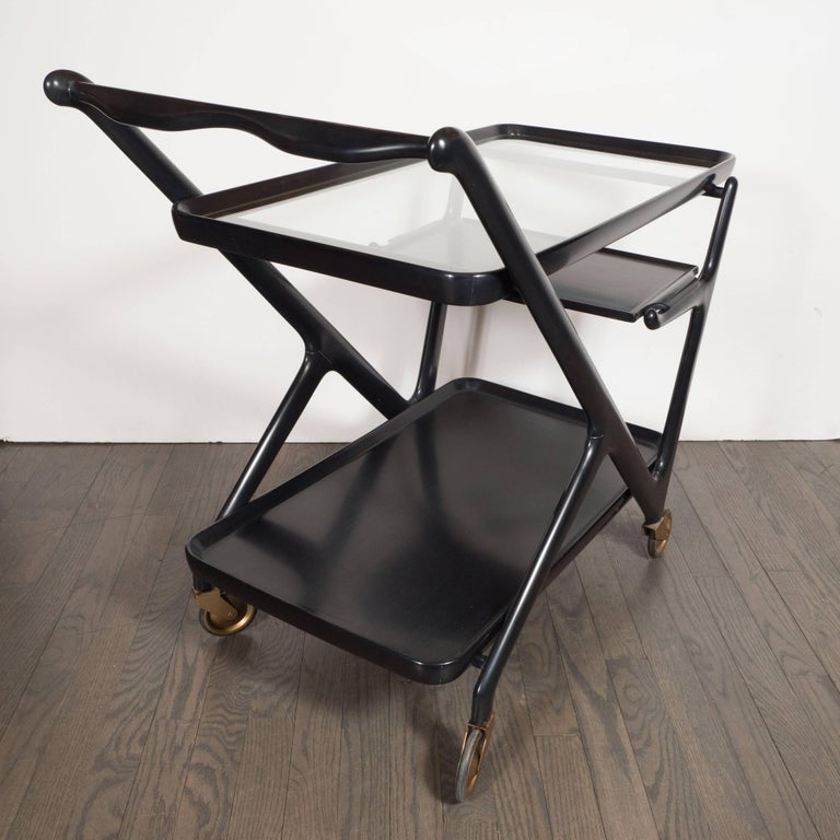 American Italian Mid-Century Modern Bar Cart in Ebonized Walnut, Attributed to Ico Parisi For Sale