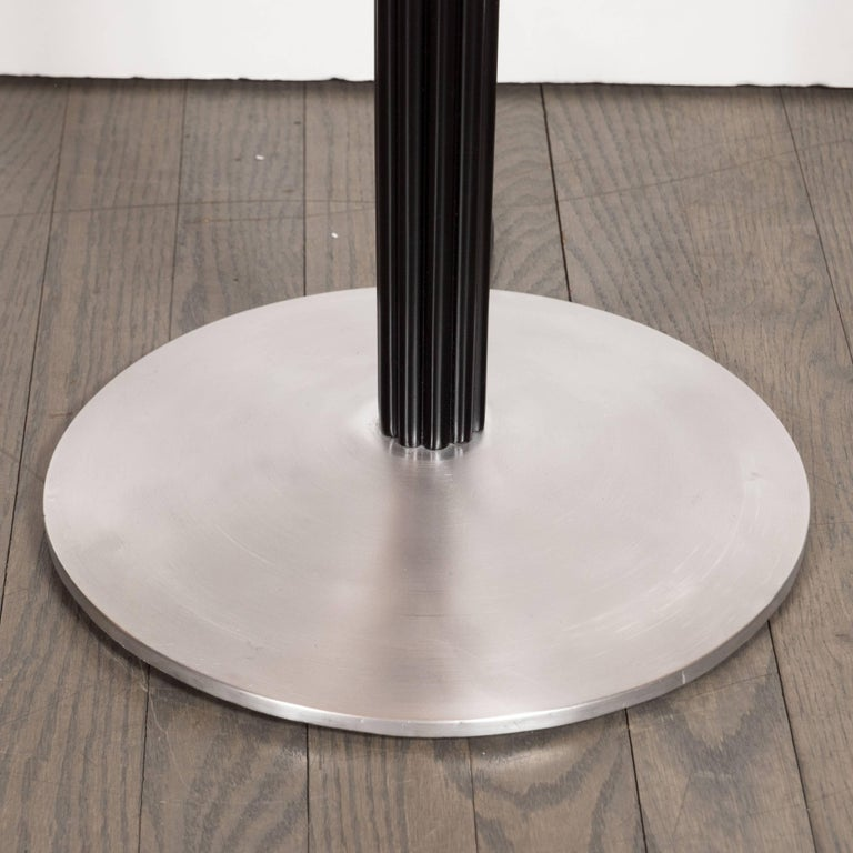 Mid-20th Century Art Deco Machine Age Aluminum and Ebonized Walnut Floor Lamp by Russell Wright For Sale