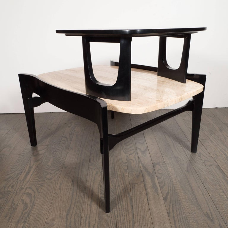 Sculptural Pair of Mid-Century Modern End Tables in Travertine & Ebonized Walnut 4